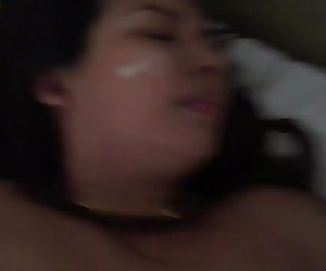 Worthless Thai whore lets me spit on her face