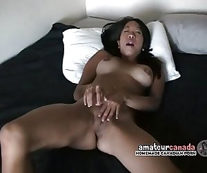 Cute Asian girl with braces has skaking orgasms