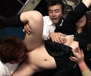 Japanese babes shaved pussy is getting pounded by a gourp...