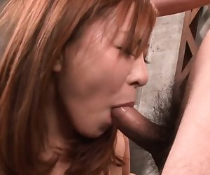 Cute asian gives oral after experiencing wild toying