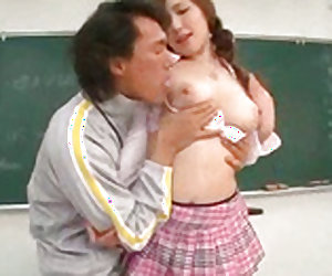 Petite japanese student is kissing her brave coach in the class