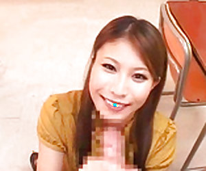 Nasty japanese teacher is giving blowjob to her friend